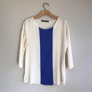 Zara basic ivory blue blouse top 3/4 sleeves